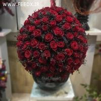 دسته گل گراند مشکی 200 شاخه گل رز هلندی